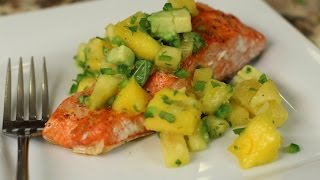 Easy Grilled Salmon with Mango Pineapple Salsa by Rockin Robin
