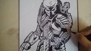 COMO DIBUJAR AL DEPREDADOR / how to draw predator