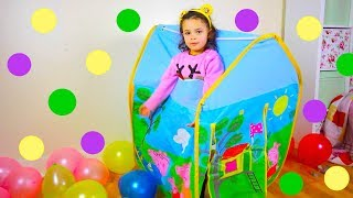 Kids Play with Toys in Peppa Pig Tent, House Playground :) Toy Time!