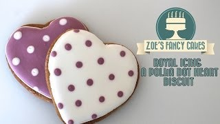Royal icing a polka dot heart biscuit How To Tutorial Zoes Fancy Cakes