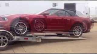 Loading New Ford Mustang on Open Aluminum Car Hauler Trailer w/ 7' Ramps