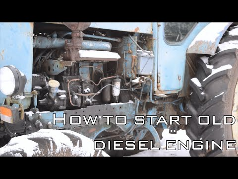 How to start old diesel engine in winter (T-40 AM Tractor) (FullHD)