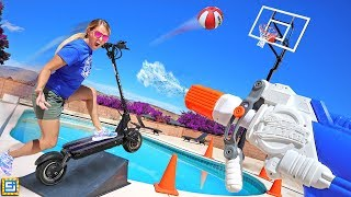ULTIMATE ALL SPORTS SCOOTER RACE TRICK SHOT CHALLENGE!