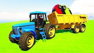 COLOR TRACTOR with SMALL CARS! Funny cartoon for kids and babies!