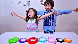 Playing and Learning Colors with Lego Tape for Children