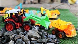 รถแม็คโครตักหิน รถดั้ม รถบรรทุก รถของเล่น Excavator and Truck | Construction Vehicles For Children
