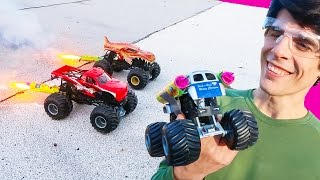 Monster Trucks Strapped With ROCKETS!