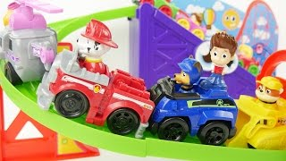 Paw patrol racing mini cars on rollercoaster