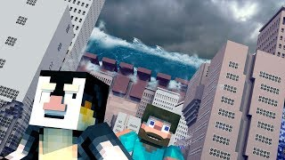 Minecraft | TSUNAMI TEAM BASE CHALLENGE 2 - Tsunami Destroys City! (Base vs Tsunami)