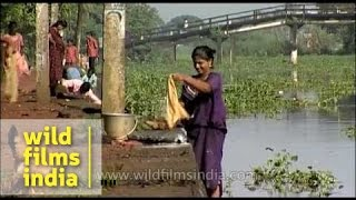 Washing clothes the Mallu way- Kerala Village