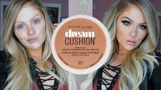 NEW MAYBELLINE DREAM CUSHION FOUNDATION FIRST IMPRESSIONS REVIEW + DEMO