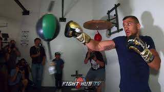 VASYL LOMACHENKO WORKING THE DOUBLE END BAG AS HE FINALIZES TRAINING FOR JORGE LINARES