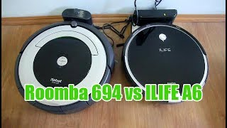 iRobot Rooba 694 (or 690) vs ILIFE A6: Comparison and Cleaning Test