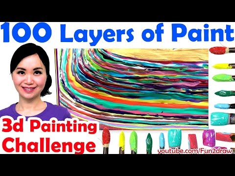 Top art challenge 100 LAYERS OF PAINT 3d painting Unboxing gold play button