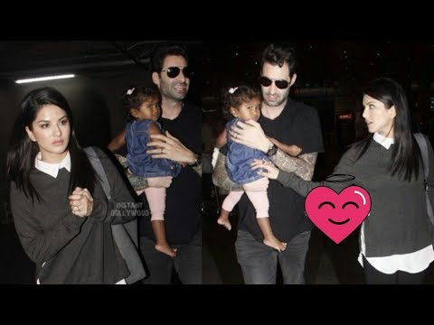 Sunny Leone spotted with daughter Nisha and Husband Daniel recently at airport |