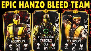 MKX Mobile. AMAZING Hanzo Hasashi Bleed Team. DESTROYING HACKERS in Faction Wars.