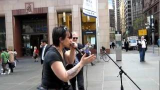 Christelle Berthon: impromptu blues harp at Martin Place