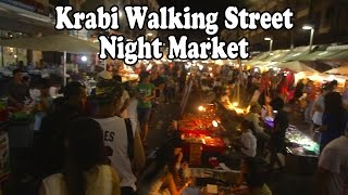 Walking Street Night Market Krabi Town. Street food & shopping in Krabi, Thailand