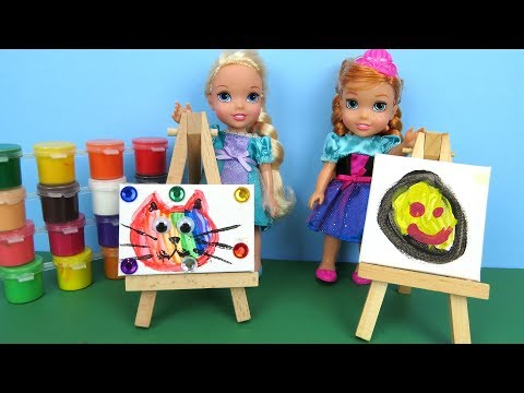 Art CLASS Elsa and Anna toddler at School Barbie is teacher Paintings Colors