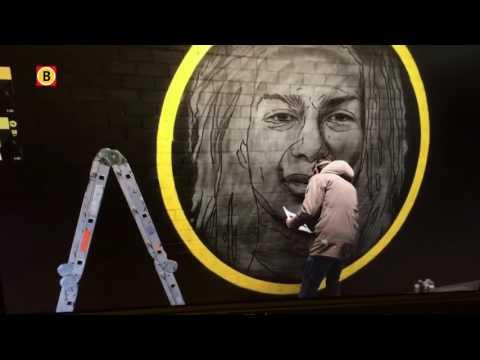 Graffiti van Andro Knel, Dominique Diroux en Ferry van Vliet bij NAC-stadion
