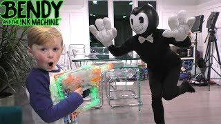 Nerf War vs Bendy and the Ink Machine Kids Skit