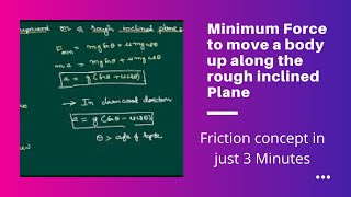 Minimum Force required to move a body up along the rough inclined Plane