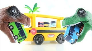 Dinosaurs T-Rex Eat Tayo and Friend. Dino School Bus Attack is Danger~ Learn Dinosaur Toys~