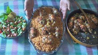 صدور الدجاج بالخضار مع الرز الاحمر - وجبة صحية - المطبخ العربي - المطبخ العراقي