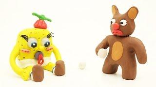 Baby Girl SpongeBob and Bear Become Friends Play Doh Cartoon Movies