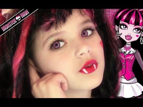 Draculaura Monster High Doll Costume Makeup Tutorial for Halloween