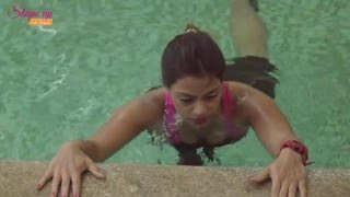 Aqua aerobics bootcamp - how to do push ups & get a cardio workout in pool.