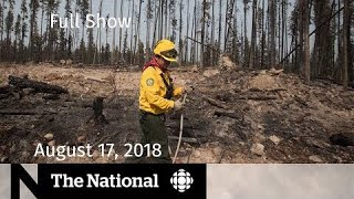 The National for August 17, 2018 — B.C. Wildfires, N.B. Shooting, Low-Carb Diets