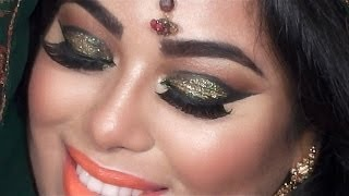 INDIAN BRIDAL MAKEUP TUTORIAL - GREEN and GOLD GLITTER EYES