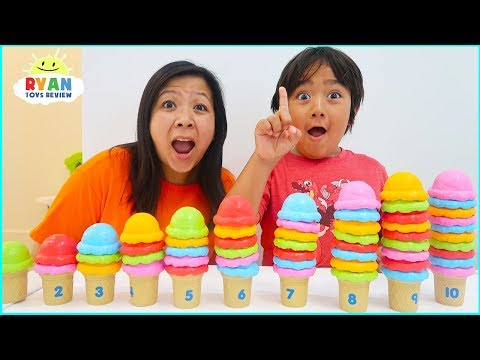 Ryan Pretend Play with Ice Cream Shop and learn to count