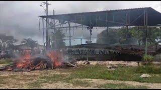 Migrant camps are burnt at the Venezuela-Brazil border