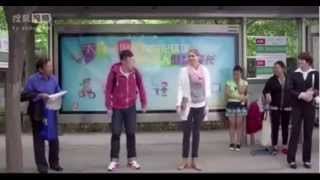 funny kiss in bus stop