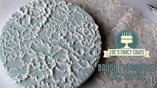 Royal icing lace effect brush embroidery on a cake board tutorial