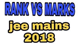 Rank vs mark jee mains 2018