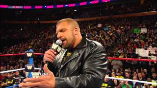 Triple H challenges Brock Lesnar to a match at WrestleMania 29: Raw, March 4, 2013