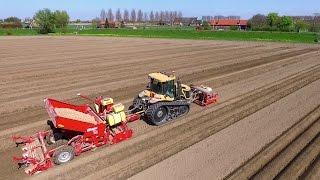 Potato Planting    Challenger MT 765D + Grimme GB430 beltplanter   Veerman Goudswaard