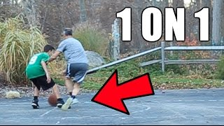 I BROKE MY DAD'S ANKLES! 1 ON 1 BASKETBALL VS MY DAD!