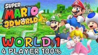 Super Mario 3D World - World 1 (4-Player 100% walkthrough)