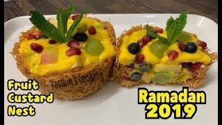 Unique Fruit Custard Nest / First Ever On Youtube /Ramazan 2019 Recipe By Yasmin Cooking