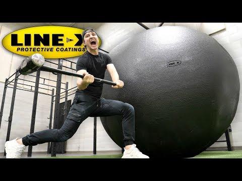 I SPRAYED A GIANT BALL WITH LINE X LINE X BALL EXPERIMENT