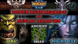 Grubby | Warcraft 3 The Frozen Throne | Orc v NE - Tower Rush and Replay Analysis - Ancient Isles
