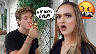 SMOKING CIGARETTES In Front Of My GIRLFRIEND To See How She Reacts!!