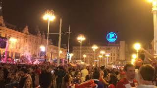Croatia fans celebrate World Cup semi-final win over England, Zagreb, 11.07.2018.