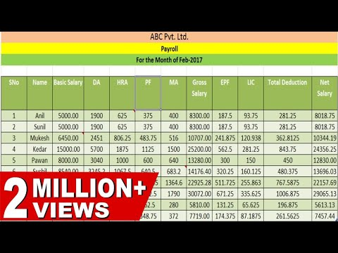 HOW TO CREATE PAYROLL|SALARY SHEET| PAYSLIP IN EXCEL(Hindi)
