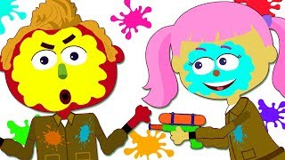 Learn Colors With Funny Len and Mini Playing Paintball | Kids Songs by Teehee Town