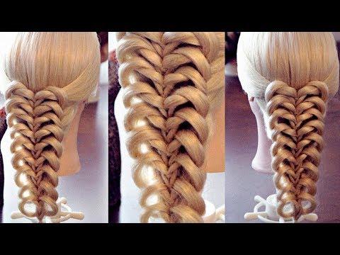 видео прически с резинками косы